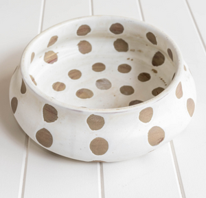 Kusama White Ceramic Bowl with brown polkadots.Hand Painted & Hand Crafted using Terracotta. Unique.