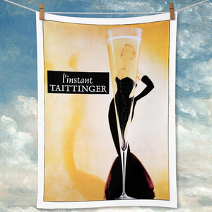 Vintage Retro Style Taittinger Champagne linen and cotton blend tea towel. Superior quality