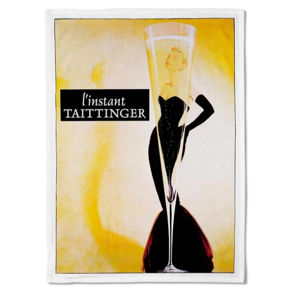 Vintage style champagne tea towel. Perfect to showcase as part of your kitchen decor. Hello Bella
