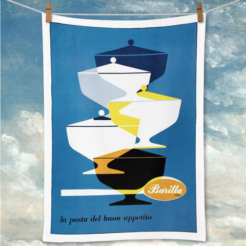 Bold and colourful barilla pasta tea towel. Kitchen decor styling perfection. Hello Bella Lifestyle