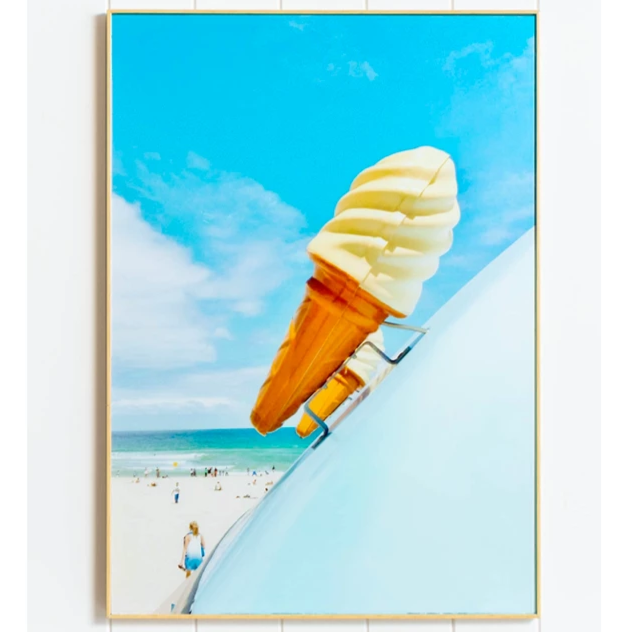 Framed Glassed Blue Ice Cream Wall Print Decor. Photographed by Australian Artist JD at Bondi Beach.