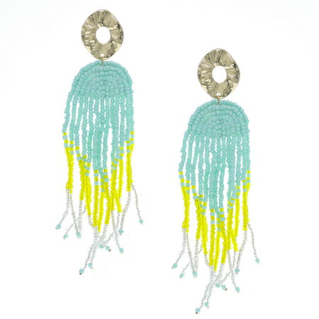 Beaded Tassel Earrings Yellow Aqua blue - beautiful earrings to make a statement. Hello Bella Online