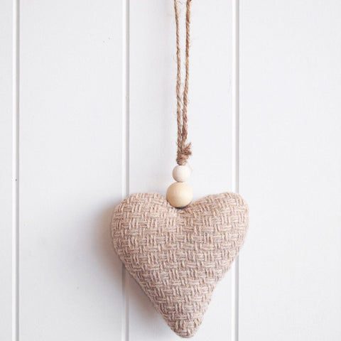 Fabric hanging heart with beaded rope in natural colour. Beautiful gift ideas. Great to cluster.