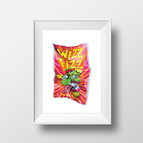 Dr Freak Wizz Fizz Classic Framed Wall Print. Premium Frame in white. Childhood classic candy. Retro