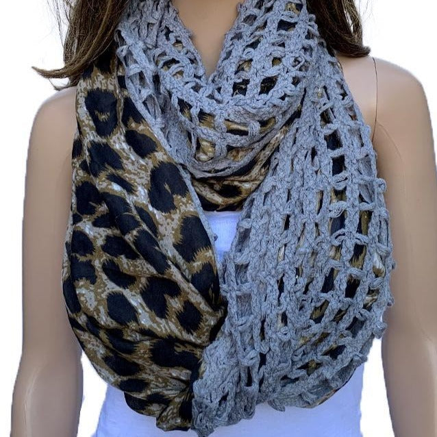 Leopard Snood Scarf. Chic, stylish and unique look. Affordable luxury for any season. Knotted detail