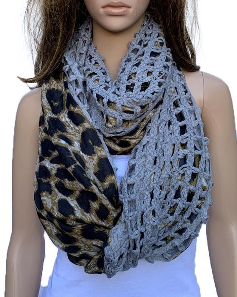 Affordable unique leopard print scarf snood. Details with grey cotton knit. Edgy design. Seasonal