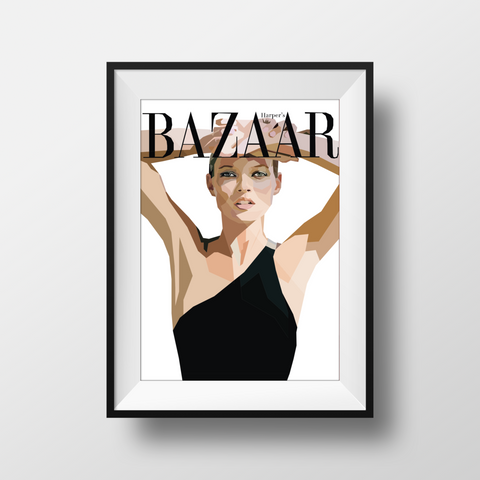 Harpers Bazaar Kate Moss Framed Premium Wall Print with black frame. For the fashion & style lovers