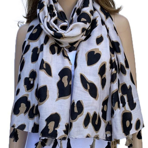 Leopard Print Scarf with big and bold leopard spots. Soft, lightweight and perfect gift idea. Warm