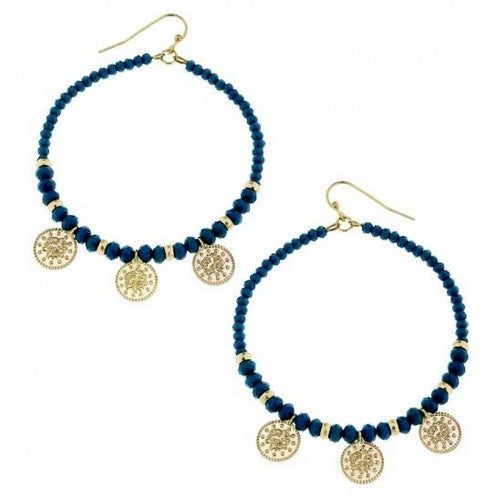 Beautiful quality Gold and Teal Beaded Dangle Drop Earrings. Shop accessories at Hello Bella Online.