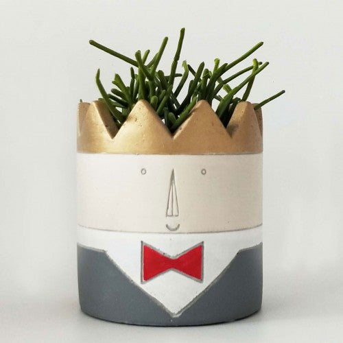 Prince head planter. Features a gorgeous gold crown and red bow tie. Great birthday gift.