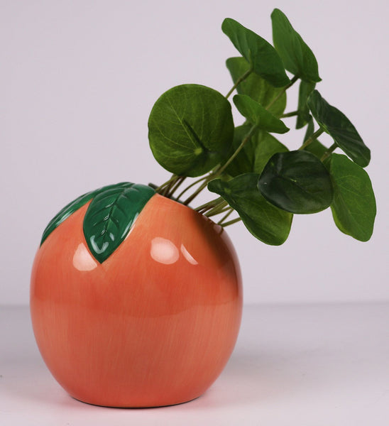 Peach Ceramic planter - perfect as a gift idea or table top setting. Bright colours. Fruity fun!
