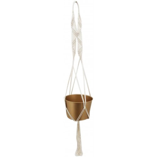 Gold Bohemian Hanging Planter with Cotton Macrame Rope. 100cm high, indoor or outdoor garden.