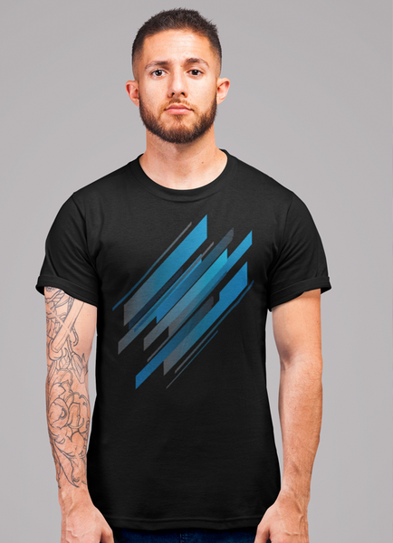 Abstract Blue Geometry T-shirt