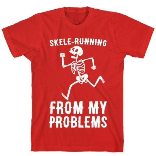 SKELE-RUNNING FROM MY PROBLEMS RED T-SHIRT