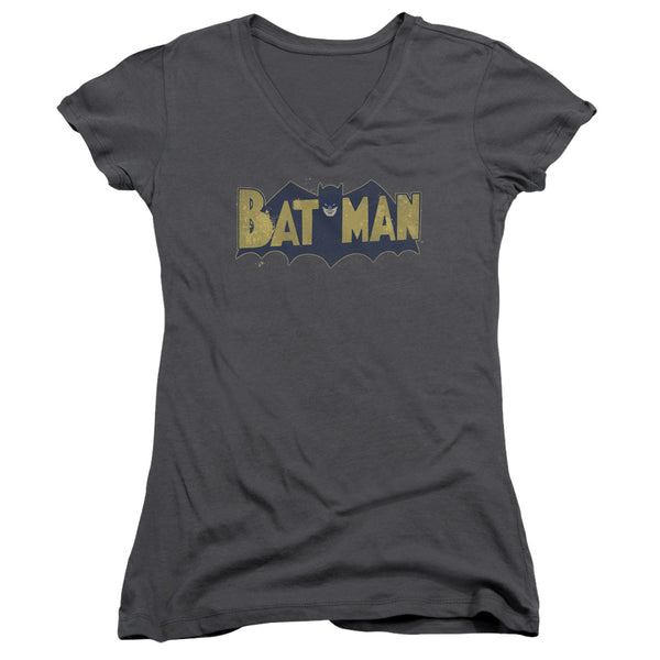 Batman - Vintage Logo Splatter Junior V Neck