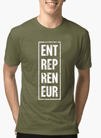 Entrepreneur Vertical Half Sleeves Melange T-shirt