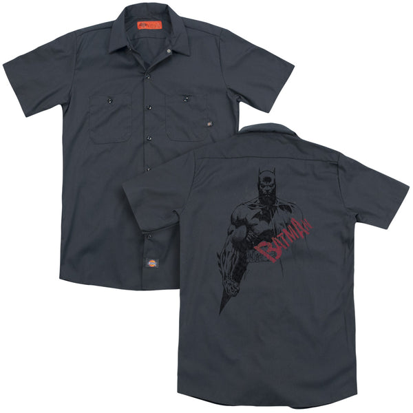 Batman - Sketch Bat Red Logo (Back Print) Adult Work Shirt