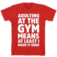 ADULTING AT THE GYM RED T-SHIRT