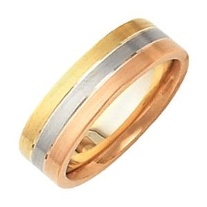 14K Tri-Color 6 mm Flat Band Size 5-50248:254594:P-ST-WBC