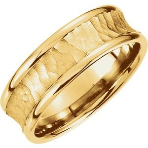 14K Yellow 7.5 mm Concave Band with Hammer Finish Size 4-51192:423:P-ST-WBC