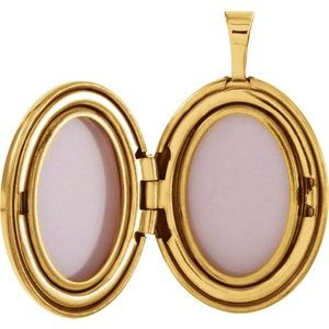 14K Yellow Gold-Plated Sterling Silver 19.2x15 mm Oval Breast Cancer Awareness Locket  -650230:102:P-ST-WBC