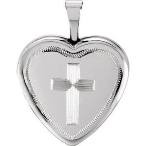 Sterling Silver 16x15.75 mm Cross Heart Locket -R41629:60001:P-ST-WBC