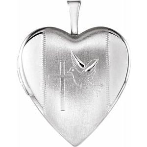 Sterling Silver 21.6x19.6 mm Heart Locket with Cross & Dove-R45245:101:P-ST-WBC