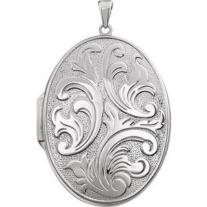 Sterling Silver Oval Locket-2689:116019:P-ST-WBC