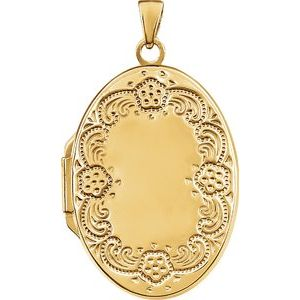 14K Yellow Gold-Plated Sterling Silver Oval Locket -21947:238953:P-ST-WBC