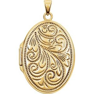 14K Yellow Gold-Plated Sterling Silver Oval Locket -21949:238958:P-ST-WBC