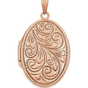 14K Rose Gold-Plated Sterling Silver Oval Locket -21949:238959:P-ST-WBC