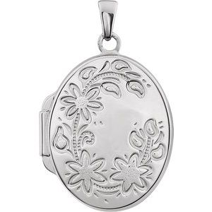 Sterling Silver Oval Locket-21952:238961:P-ST-WBC