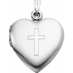 Sterling Silver 15.5x13 mm Heart Locket with Cross-R41397:297227:P-ST-WBC