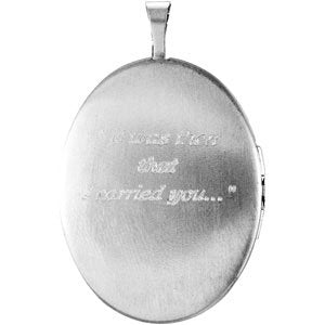 Sterling Silver 26.1x20.4 mm Oval Locket with Footprints-R45243:101:P-ST-WBC
