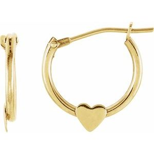 14K Yellow Hinged Hoop Earrings with Heart-19102:600010:P-ST-WBC