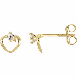 14K Yellow 2 mm Round Cubic Zirconia Youth Heart Earrings  -19246:600010:P-ST-WBC