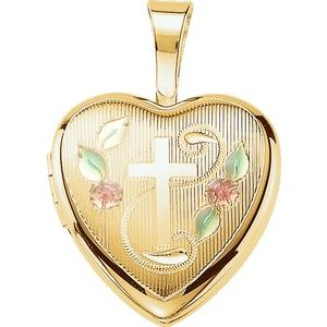 Gold Plated Sterling Silver Cross Heart Locket with Epoxy-190055:702:P-ST-WBC