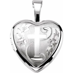 Sterling Silver Cross Heart Locket-190050:201:P-ST-WBC