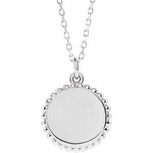 "14K White Beaded Disc 16-18"" Necklace-86472:116:P-ST-WBC"