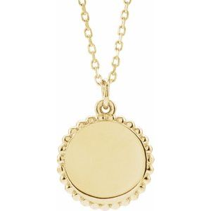 "14K Yellow Beaded Disc 16-18"" Necklace-86472:117:P-ST-WBC"