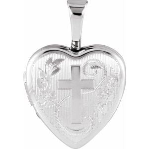 Sterling Silver Heart Locket with Cross-650224:601:P-ST-WBC
