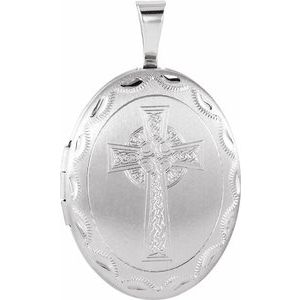 Sterling Silver Oval Celtic-Inspired Cross Locket -650225:603:P-ST-WBC
