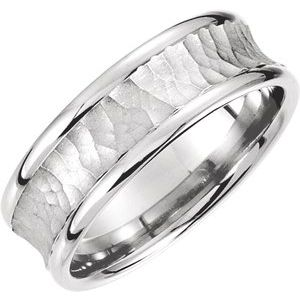 14K White 7.5 mm Concave Band with Hammer Finish Size 4-51192:403:P-ST-WBC