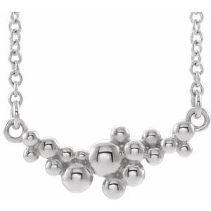 "Sterling Silver Scattered Bead 18"" Necklace  -86824:609:P-ST-WBC"