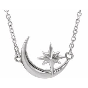 "Platinum Crescent Moon & Star 16-18"" Necklace   -86843:603:P-ST-WBC"