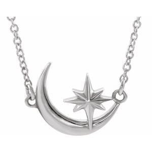 "14K White Crescent Moon & Star 16-18"" Necklace   -86843:600:P-ST-WBC"
