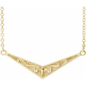 "14K Yellow Sculptural ""V"" 18"" Necklace -86850:606:P-ST-WBC"