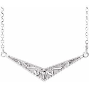 "14K White Sculptural ""V"" 18"" Necklace -86850:605:P-ST-WBC"