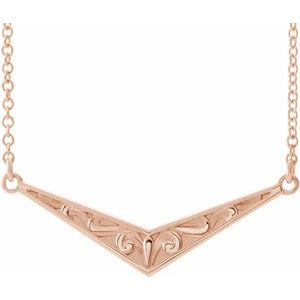 "14K Rose Sculptural ""V"" 18"" Necklace -86850:607:P-ST-WBC"