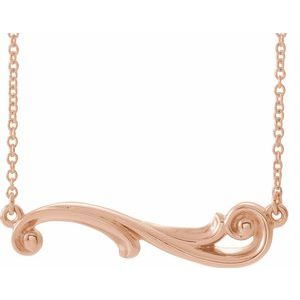 "14K Rose Freeform Bar 18"" Necklace   -86873:607:P-ST-WBC"